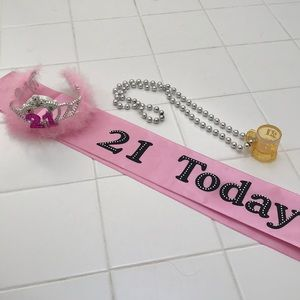 21 birthday sash, shot glass necklace and crown